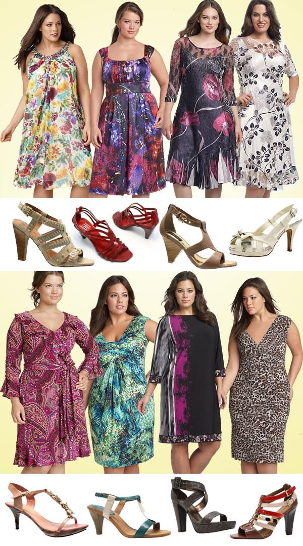 vestidos estampados com sandálias adequadas - para tamanhos grandes