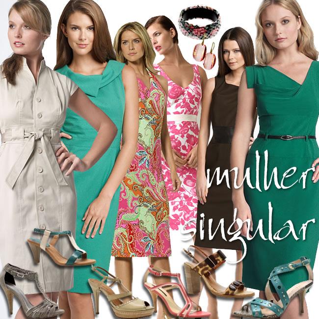 vestidos alinhados e elegantes para o dia - trabalho e lazer - Mulher Singular