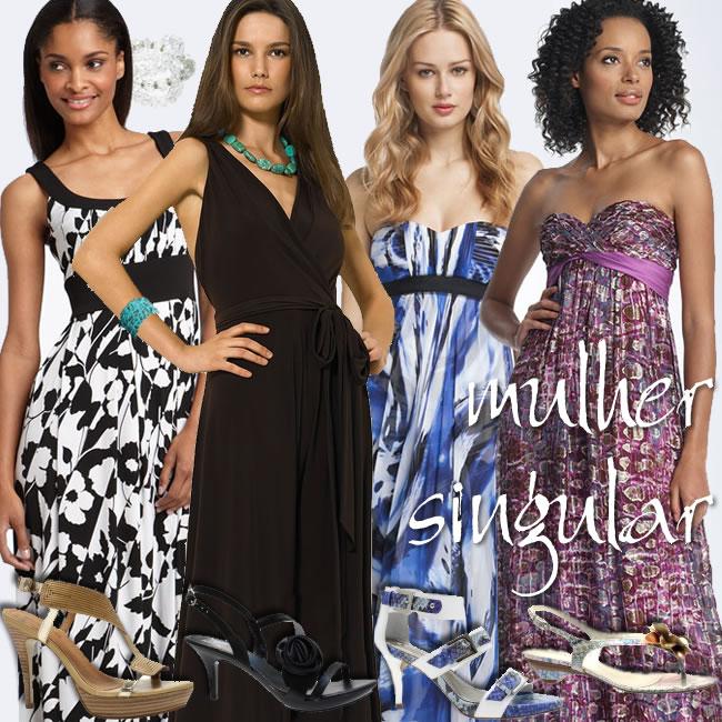 vestidos - modelos longos mais casuais para noite - lazer - Mulher Singular