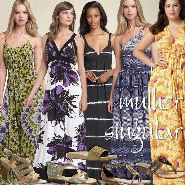 vestidos - modelos longos para o dia - trabalho e lazer - Mulher Singular