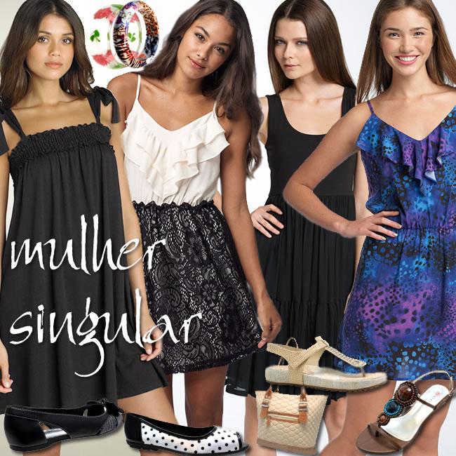 vestidos simples, jovens e elegantes para o dia - trabalho e lazer - Mulher Singular