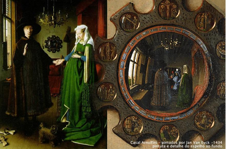 Casal Arnolfini - pintado por Jan Van Eyck -1434 com detalhe do espelho do fundo
