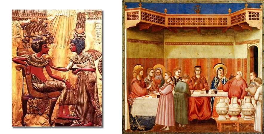 casamento Egito (baixo relevo) e bodas_canaã (pintura Giotto)