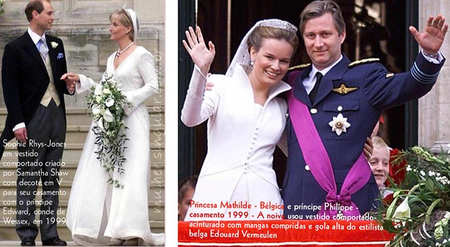 casamentos condes e principes do mundo 1999 - Sophie Rhys-Jones em vestido comportado criado por Samantha Shaw com decote em V para seu casamento com o príncipe Edward, conde de Wessex, em 1999